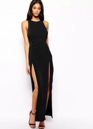 Черное платье в пол с разрезом