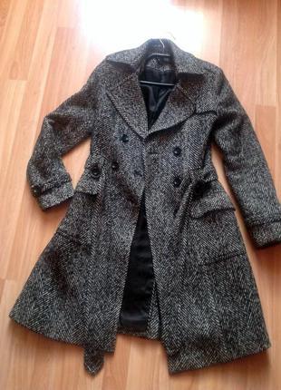 Пальто в елочку весна-осень шерсть