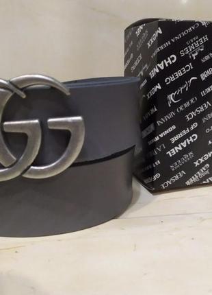Ремень, пояс кожаный брендовый gg серый
