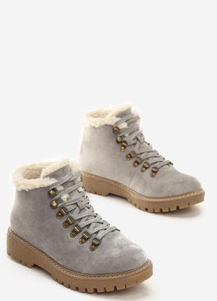 Новые шикарные женские зимние серые ботинки4 фото