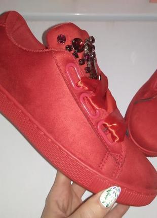Ленты кеды ✨ кроссовки кеди мокасины красный камни