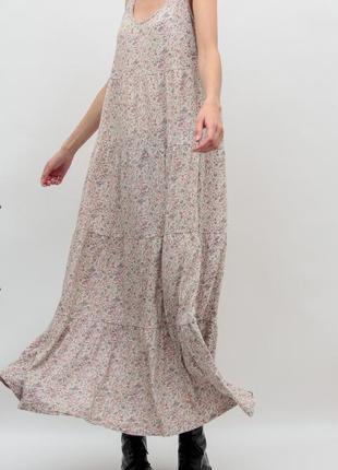 Длинное платье в цветах h&m {zara