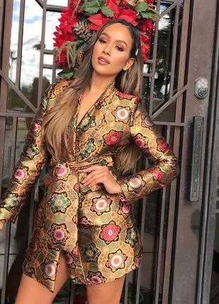 🌿 фантастическое, жаккардовое платье пиджак от prettylittlething