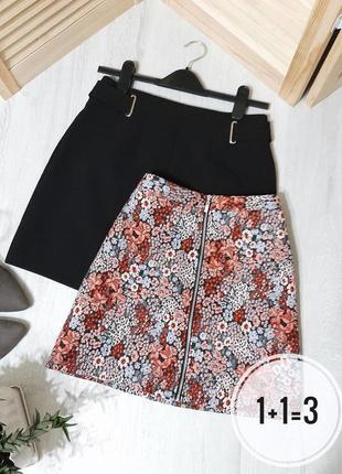 Primark стильная юбка m трапеция на талию цветочный принт узор молния мини короткая