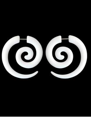 Серьги серёжки обманки плаги лжерастяжки спирали белые