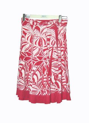 Роскошная льняная юбка-миди  красная с белым