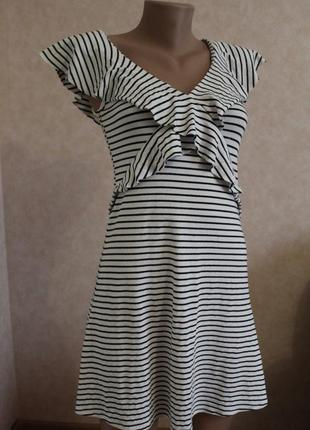 Нежное платье в полоску, м, 38,белое