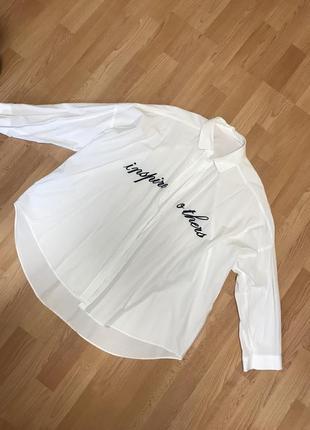 Zara рубашка оверсайз белая
