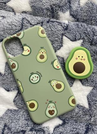 Чехол авокадо для iphone 11 с попсокетом