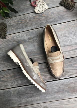 Gabor серебристые лоферы туфли