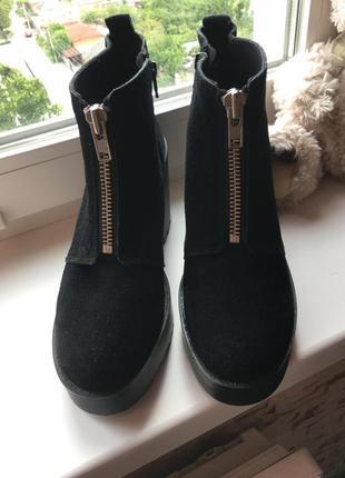 Сапоги ботинки на тракторной подошве замшевые