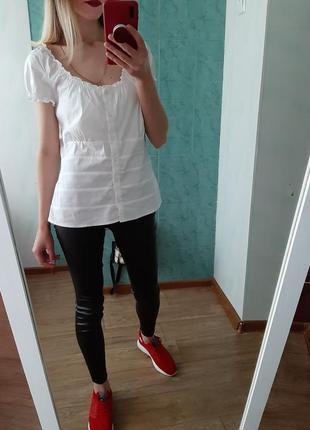 Хлопковая белая  рубашка, блуза , топ на плечи
