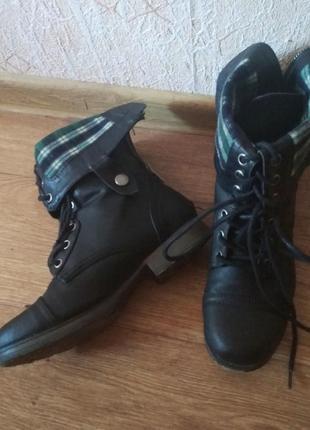 Байкерские грубые ботинки чёрные на шнуровке трансформеры с отворотом