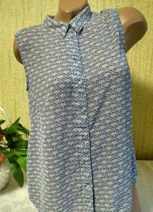 Шифоновая блуза безрукавка в принт