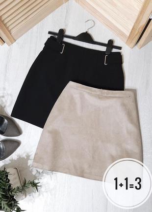 Primark базовая замшевая юбка m трапеция на талию серая молния сзади замша мини короткая