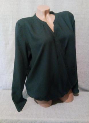 Блуза рубашка тёмно-зелёная на запах вискоза