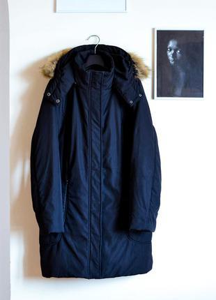 Черное пальто на синтепоне impuls