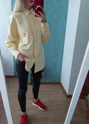 Шикарная хлопковая рубашка оверсайз ralph lauren