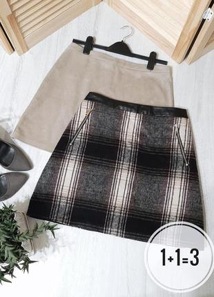 F&f базовая юбка в клетку l трапеция с карманами на талию стильная тренд мини короткая