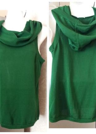 Зеленый блузон. c капюшоном натуральный шелк 100% max mara з23