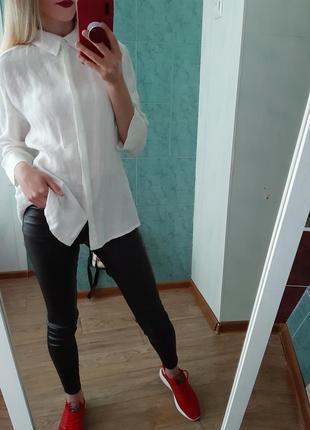 Льняная белая  рубашка, блуза