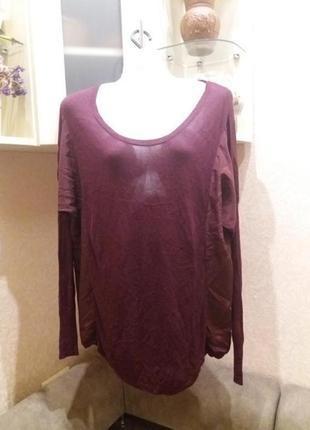 Тонкий комбинированый свитшот цвет марсала- с-м- №15 oasis распродажа
