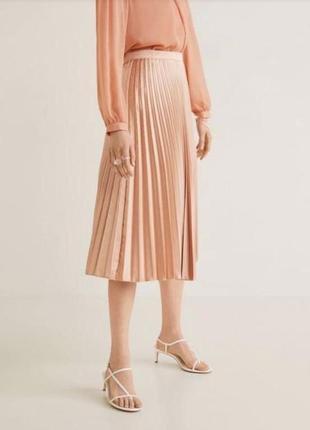 Плиссированная атласная юбка плиссе mango m плиссировка