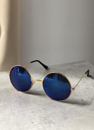 Круглые стильные необычные солнцезащитные очки унисекс лепс синие