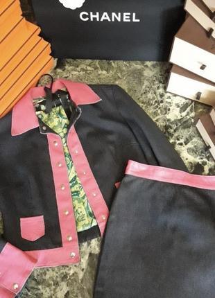 Шикарный костюм из кожи и джинса