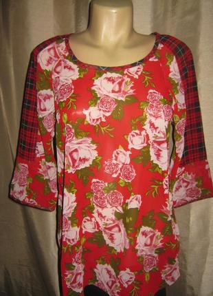 """Шифоновая стильная блуза"""" s.oliver""""-цветочный принт и клетка. s и xxl, германия."""