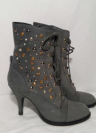 Patrizia pepe, ботинки на шнуровке ботильоны кожаные серые, made in italy
