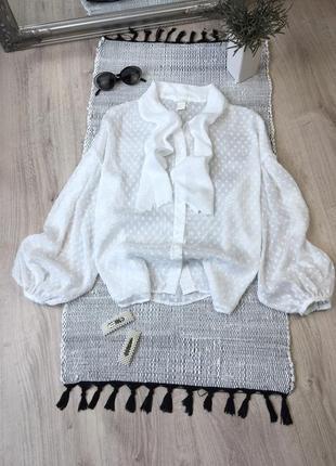Сукня в горошок із об'ємними рукавами