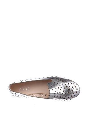 Серебристые балетки another pair of shoes с перфорацией3 фото