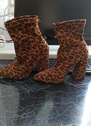 Леопардовые ботильоны чулки