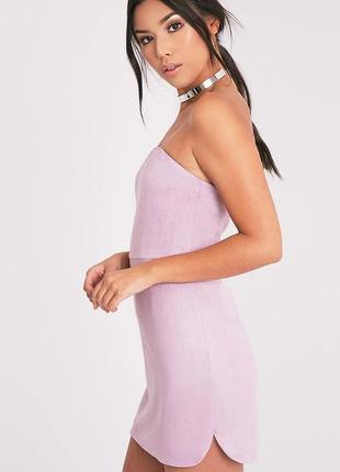 Женское платье мини лиловое фиолетовое замшевое