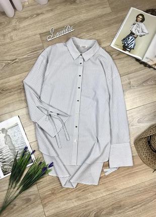 Шикарная удлиненная оверсайз рубашка в серую полоску и с завязками на рукавах 😍