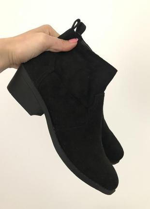 Новые базовые чёрные ботинки челси эко замша