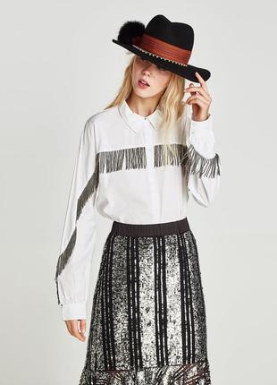 Рубашка белая из поплина с бахромой из бисера размер 8-10 от zara