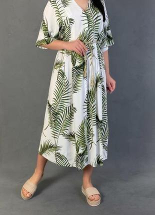 Шикарное платье 👗 кафтан в тропические листья h&m ♥  50/52