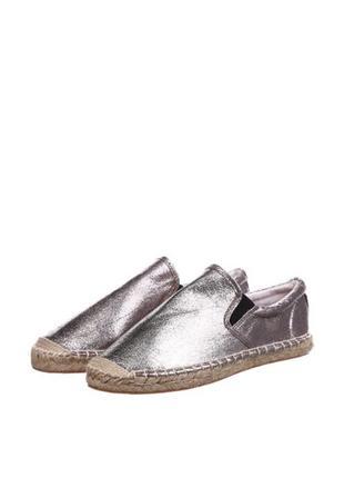 Серебристые эспадрильи another pair of shoes однотонные