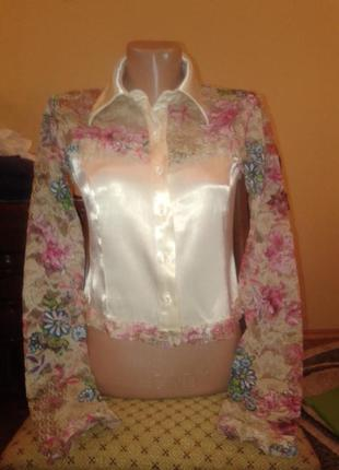 Модная и красивая блузка цветы гипюр, кружево,h&i collection