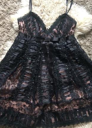Дизайнерское платье бэби-долл из кружева и органзы