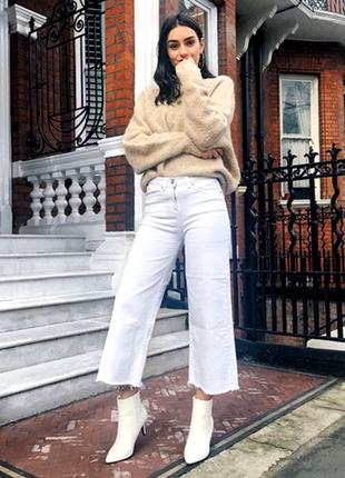 Белые джинсовые брюки кюлоты, высокая посадка талии. per una