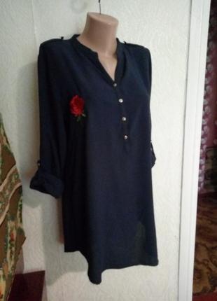 Рубашка з віскози(блуза)з нашивками