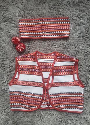 Вышиванка жилетка и повязка на голову 6-7лет