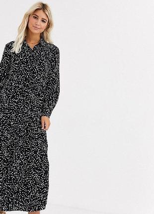 Свободное платье рубашка макси в горох из вискозы asos