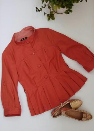 Летний брендовый жакет пиджак кирпичного цвета monton