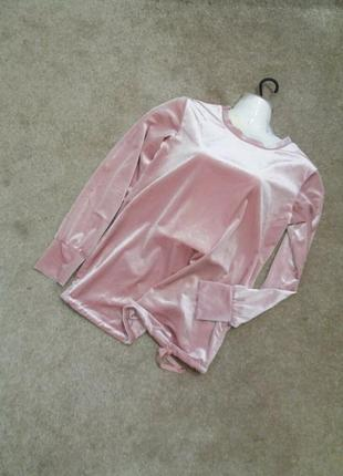 Нежный розовый велюровый блузон -бренд-hm-с м