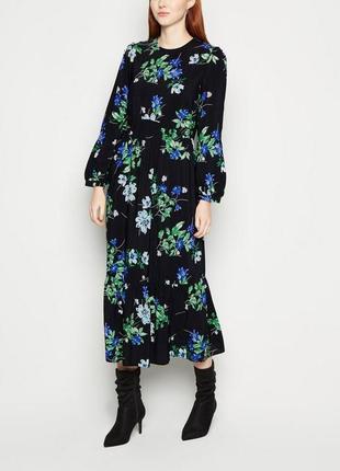 Свободное платье миди в цветочный принт из вискозы, легкое воздушное asos