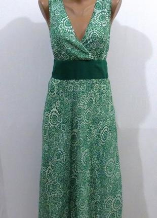 Длинный женственный зеленый с белым сарафан от cubus